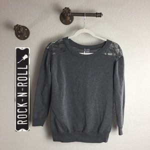 Sparkle and Fade Grey Lace Sweatshirt Small